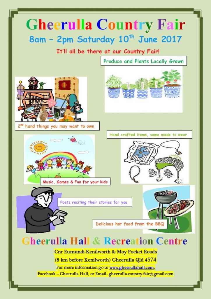 Gheerulla Country Fair - 8am to 2pm Saturday 10th June 2017